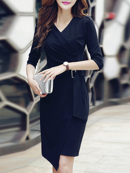 Work Slim Ruffled Pure Color Bodycon Dress