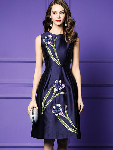 Exquisite Embroidery High Waist Ruffled Skater Dress
