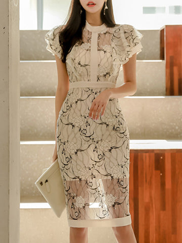 Elegant Lotus Sleeves Lace Perspective Bodycon Dress