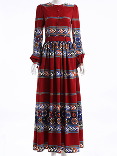 Ethnic Original Zipper Long Sleeve Big Hem Maxi Dress