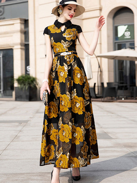 Retro Turn-Down Collar Gathered Waist Maxi Dress (No Belt)