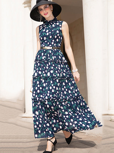 Vibrant Ruffled Stand Collar High Waist Maxi Dress