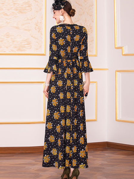 Elegant Chiffon Print Gathered Waist Maxi Dress