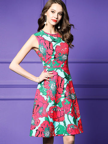 Retro Print High Waist Sleeveless Skater Dress