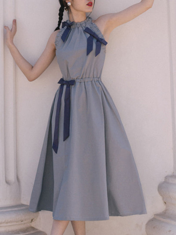 Suave Bowknot Stand Collar Lacing Skater Dress