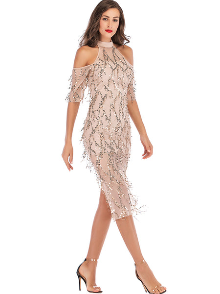 Paillette Hollow Out Tassels Off-The-Shoulder Bodycon Dress