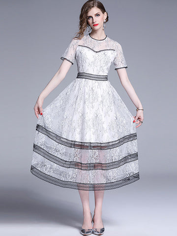 White Stitching Black Lace Hollow Out Skater Dress