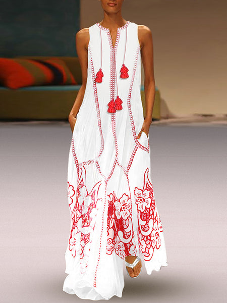 Ethnic Tassels Sleeveless Print Big Hem Beach Dress