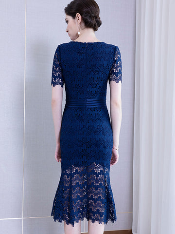 Elegant Lace Stitching Slim Hollow Out Sheath Dress