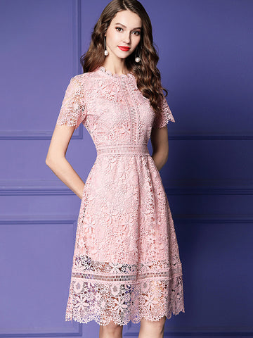 Pink Hollow Out Petal Lace High Waist A-Line Dress