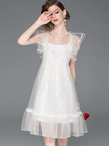 Suave Perspective Mesh Lace Flare Sleeve Bubble Dress
