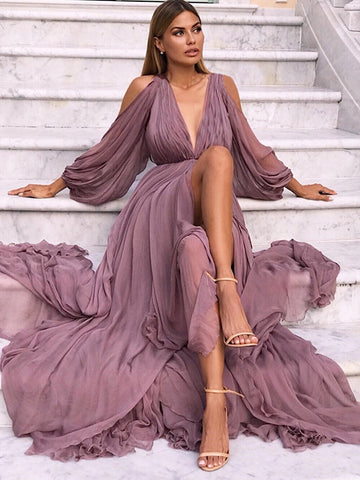 Vintage Puff Sleeve Off-The-Shoulder Maxi Dress