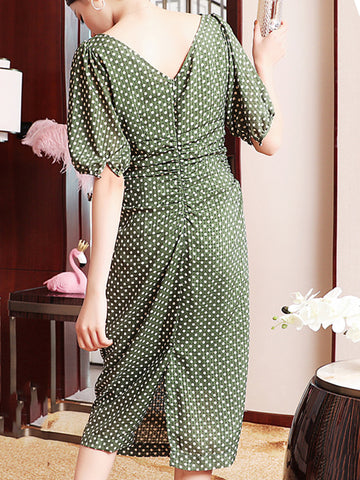 U-Shaped Neck Polka Dot Slim Bodycon Dress