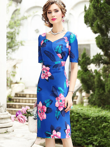 Sheath Floral Print Half Sleeve Bodycon Dress