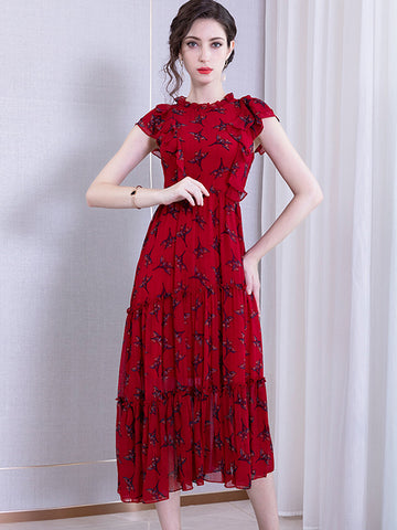 Asymmetric Chiffon Lotus Sleeves High Waist Dress