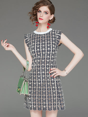 Work Stitching Sleeveless Mini Sheath Dress
