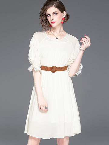 Suave Hollow Out Sashes Puff Sleeve Skater Dress