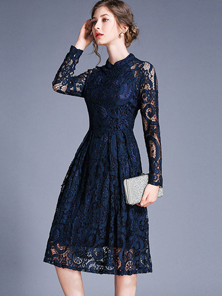 British Perspective Lace Mesh Zipper A-Line Dress