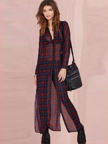 Vintage Plaid Shirt Sleeves Single Breasted Maxi Dress