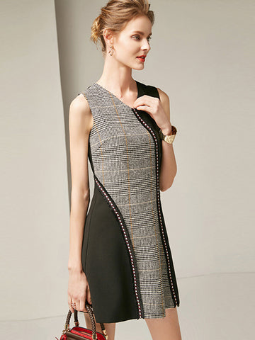Work  Knit Decoration Stitching Bodycon Dress