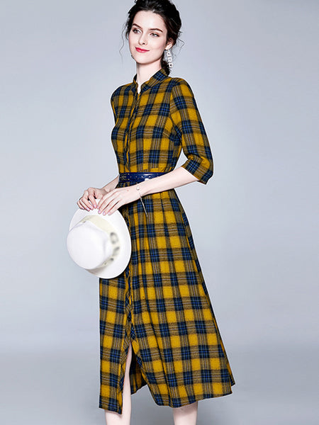 Sashes Plaid Stand Collar Single Breasted Skater Dress