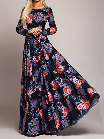 Vintage High Waist Big Hem Long Sleeve Maxi Dress