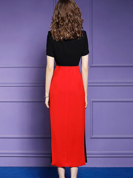 Layerd-Look Color-Block Stitching Turn-Down Collar Sheath Dress