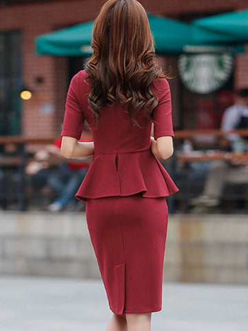 Falbala Slim Zipper Solid Color Work Bodycon Dress