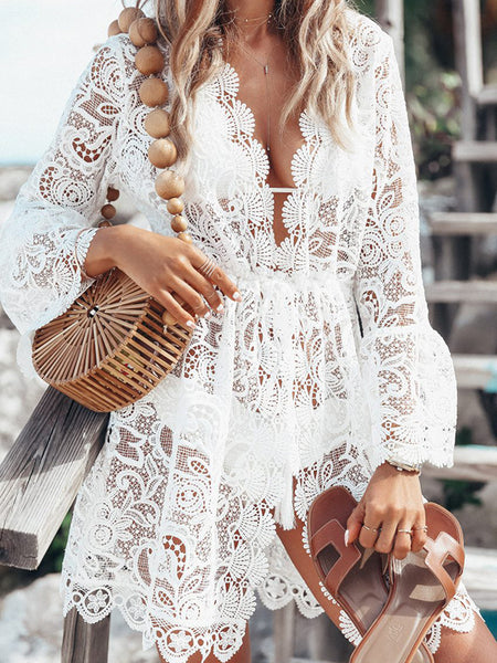 Holiday Lace Perspective Puff Sleeve Deep V-Neck Mini Dress