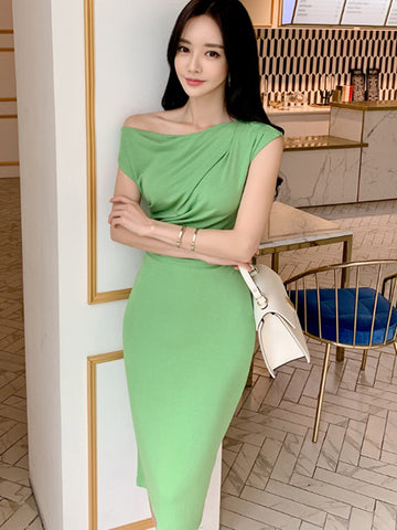 Green Ruffled High Waist Sheath Work Bodycon Dress