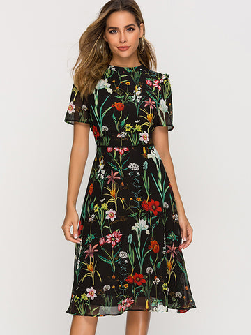 Floral Print Gathered Waist Simple Skater Dress