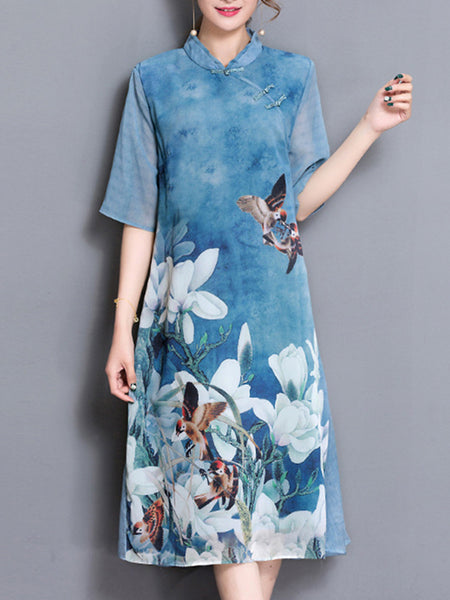 Silk Print Stand Collar Folk Half Sleeve Button Shift Dress