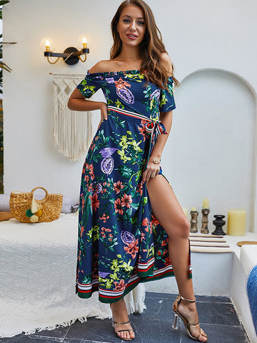 Sashes Print Boat Neck Slit Holiday A-Line Dress