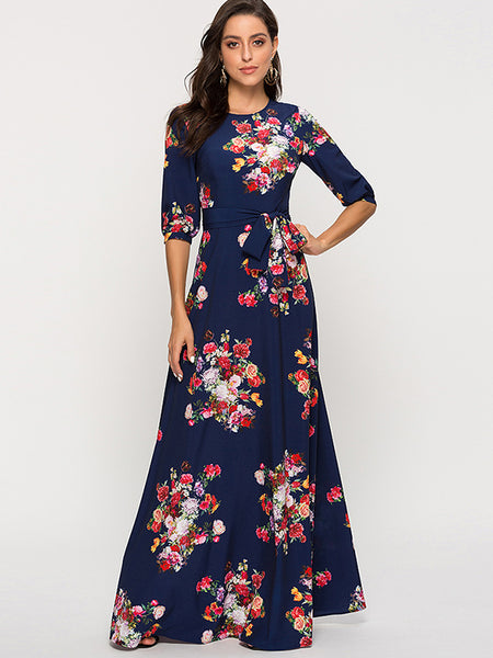 Elegant 3/4 Sleeve Lacing Big Hem Print Maxi Dress