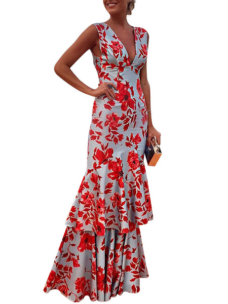 Red Print Falbala Ruffled Sheath Sleeveless  Deep V-Neck Dress