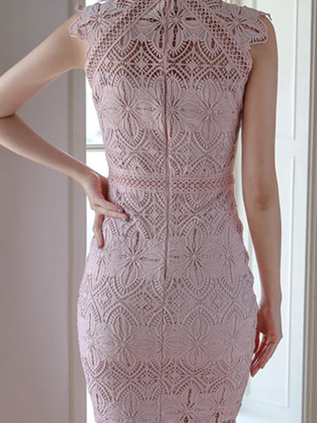 Pink Half-Collar Hollow Out Lace Work Sheath Dress