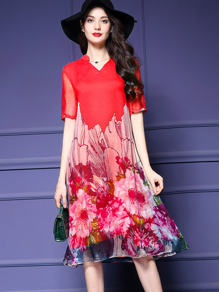 Silk Casual Loose V-Neck Half Sleeve Shift Dress