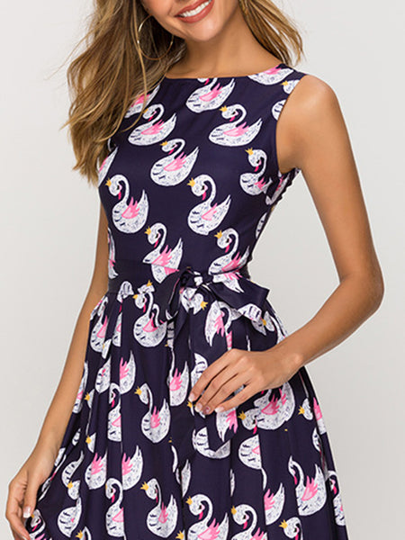 Simple Sleeveless Lacing Big Hem Print Skater Dress