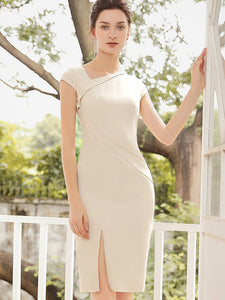 Gathered Waist Apricot Slit Asymmetric Bodycon Dress