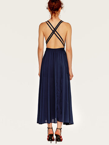 Solid V-Neck Backless Gathered Waist Sexy Skater Dress