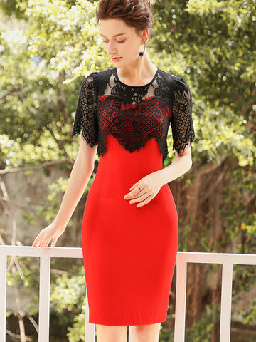 Lace Hollow Out Patchwork Slim Vintage Bodycon Dress