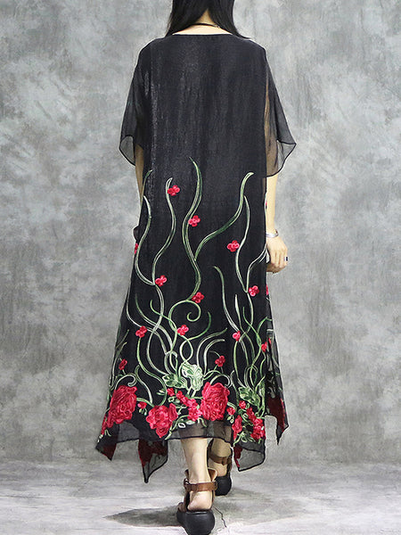 Simple Asymmetric Loose Embroidery Cotton Shift Dress