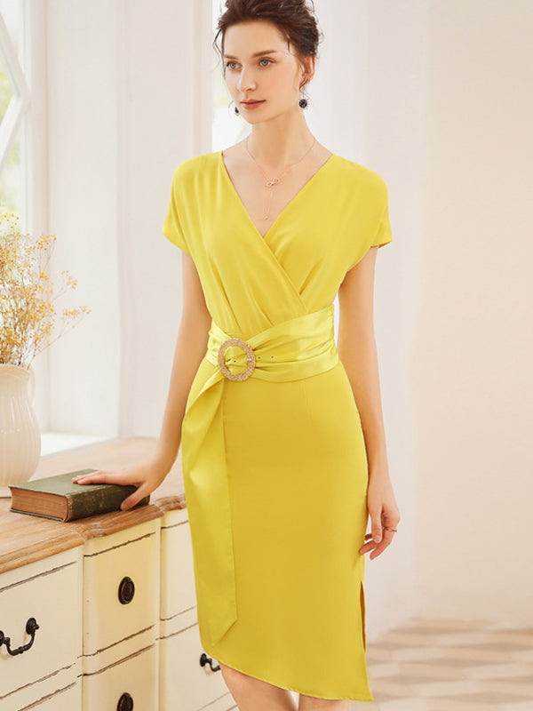 Sheath Decoration Ruffled Gathered Waist Yellow Bodycon Dress