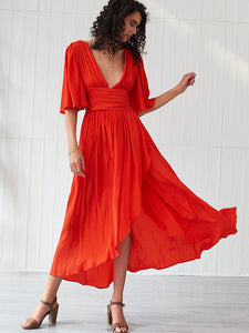 Deep V-Neck High Waist Asymmetric Skater Dress
