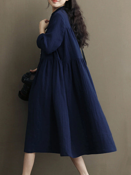 Big Hem Slim Button Vintage Solid Color Skater Dress