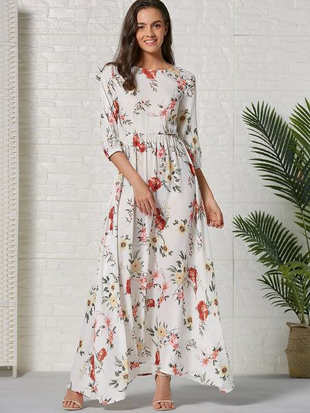Print 3/4 Sleeve Gathered Waist Bohemian Maxi Dress