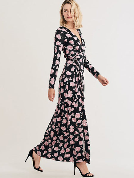 Floral Print V-Neck Slim Lacing Elegant Maxi Dress