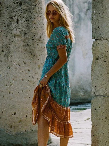 Bohemian Stitching Button Print Gathered Waist A-Line Dress