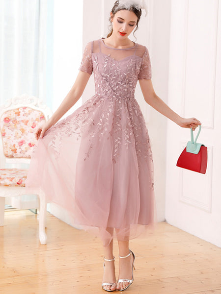 Embroidery Mesh Big Hem Perspective Gathered Waist Party Dress