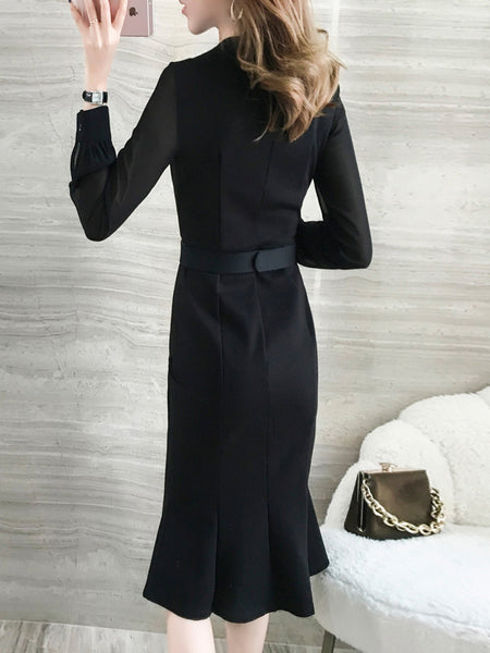 Mermaid Slim Stitching Black Long Sleeve Bodycon Dress